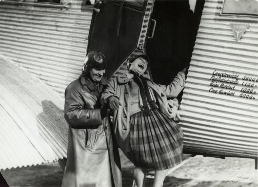 35. A. Rodchenko and V. Stepanova descending from the airplane, 1926, Rodchenko and Stepanova Archives, Moscow